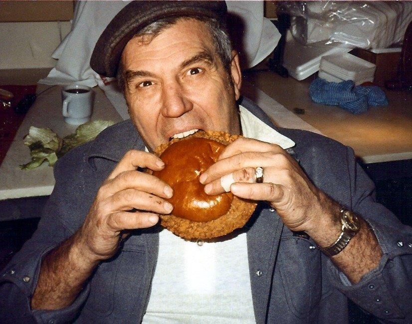 Robert Bender eating a Big T Texas tenderloin